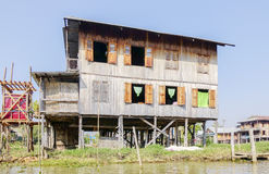 Houses on stilts on Inle Lake, Shan, Myanmar Royalty Free Stock Photography