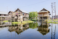 Houses on stilts on Inle Lake, Shane, Myanmar Royalty Free Stock Images