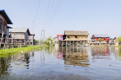 Houses on stilts on Inle Lake, Shane, Myanmar Royalty Free Stock Photography
