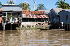 Houses on stilts in the Mekong Delta Royalty Free Stock Photos