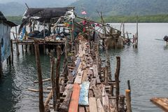 Houses on stilts and pier in the fishing village on Ko Chang island Stock Photography