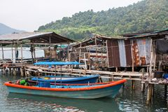 Houses on stilts and pier in the fishing village on Ko Chang island Stock Images