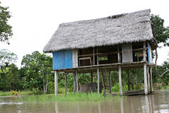 Houses on Stilts. Rise above Amazon River Basin near Iquitos, Peru royalty free stock photos