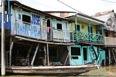 Houses on stilts rise above the polluted water in Belen, Iquitos royalty free stock photo