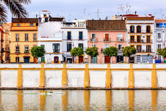 Houses Stores Cityscape Boats River Guadalquivr Seville Spain Stock Images