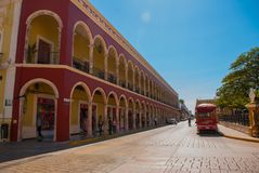 Houses on the street with colorful facades. Old Town of San Francisco de Campeche. Mexico. royalty free stock photo