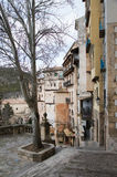 Houses and street in Cuenca, Spain Stock Photo