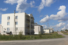 Houses on street of Culture in the village of Nyuksenitsa, Vologda region Stock Photography