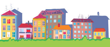 Houses at street funny banner Royalty Free Stock Photo