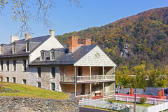 Houses on the street of historic town in Harpers Ferry National Historical Park, West Virginia, USA. Royalty Free Stock Images