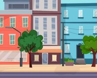 Houses on street with road in city. Cityscape. Flat cartoon style vector illustration royalty free illustration