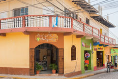 Houses on the street in town of Copan Ruinas in Honduras Stock Image