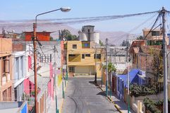 Houses on the streets of the Arequipa at day time. Royalty Free Stock Images