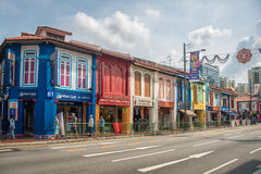 Houses in the streets of Little India in Singapore Stock Image