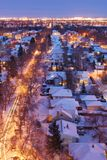 Houses and streets in a winter night Royalty Free Stock Photography
