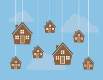 Houses on Strings. Many houses hanging from strings in the sky vector illustration