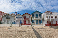 Houses with striped colored painting in Costa Nova Royalty Free Stock Photos
