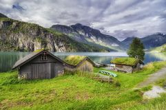 Houses on the Stryn lake royalty free stock photos