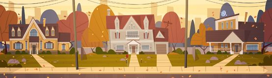Houses Suburb Of Big City In Autumn, Cottage Real Estate Cute Town Concept. Flat Vector Illustration Royalty Free Stock Photos