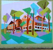 Houses In A Suburb Mural On James Road in Memphis, Tennessee. Stock Photos