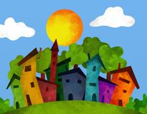 Houses in summer. Abstract illustration with houses in summer Stock Images