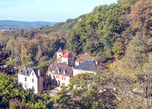 Houses surrounded by trees. In the forest of Aquitaine in France,  on a sunny day Stock Image