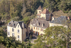 Houses surrounded by trees. In the forest of Aquitaine in France,  on a sunny day Stock Photos