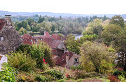 Houses surrounded by trees. In the forest of Aquitaine in France,  on a sunny day Royalty Free Stock Photos