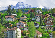 Houses of swiss alpine village Royalty Free Stock Images