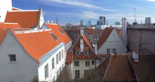 Houses of Tallinn With Red And Orange Roofs stock footage