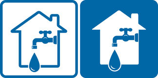 Houses with tap and big water drop Royalty Free Stock Photo