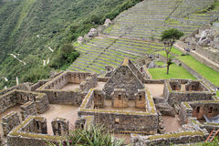 Houses and terraces  of Machu Picchu Royalty Free Stock Photo