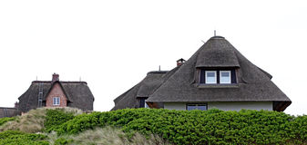 Houses with thatched roofs island of Sylt Royalty Free Stock Photography