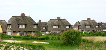 Houses with thatched roofs on the island of Sylt Germany Royalty Free Stock Photo