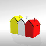 The houses. Three houses of yellow color- red-white Royalty Free Stock Photography