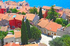 Houses with a tiled roof, top view on the streets, Rovinj Croatia royalty free stock photography