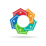 Houses together in circle logo. Houses in circle with a blank space for advertisement Royalty Free Stock Image