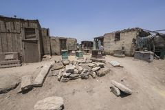 View of some houses and tombs at Cairo´s City of the Dead slum, Egypt royalty free stock images