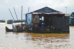 Houses from Tonle Sap, Cambodia Royalty Free Stock Photo