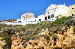 Houses on the top of a cliff Royalty Free Stock Images
