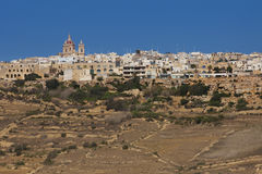 Houses on top the hills of the island of Gozo. In Malta Stock Photography