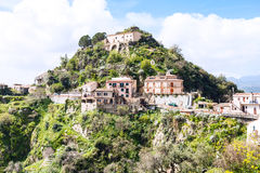 Houses on top of mountain in town Savoca, Sicily Royalty Free Stock Image