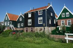 Houses in the touristic village Marken Stock Photo