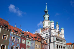 Houses and Town Hall in Old Market Square, Poznan Royalty Free Stock Images