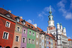 Houses and Town Hall in Old Market Square, Poznan. Poland Royalty Free Stock Photography