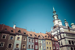 Houses and Town Hall in Old Market Square, Poznan, Poland Stock Images