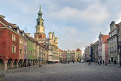 Houses and Town Hall in Old Market Square, Poznan, Poland Royalty Free Stock Image