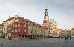 Houses and Town Hall in Old Market Square, Poznan, Poland Royalty Free Stock Images