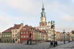 Houses and Town Hall in Old Market Square, Poznan, Poland Stock Photos
