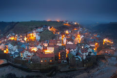 Houses in Town at Night Stock Photography